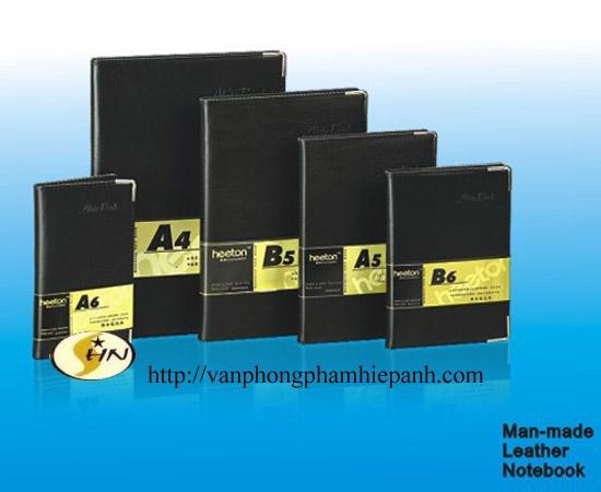 Sổ bìa da đen Heeton A5, giấy chống lóa A25-335